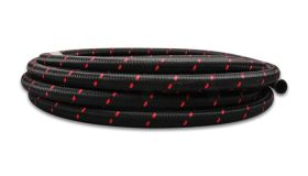 "Vibrant Performance 10ft Roll of Black Red Nylon Braided Flex Hose; AN Size: -4; Hose ID: 0.22"";"